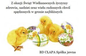 Zdrowych i pogodnych Świąt Wielkanocnych życzy hurtownia tamy suwakowej BD CŁAPA Spółka jawna